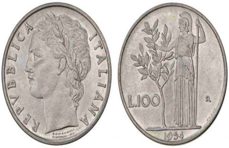 100 lire 1954 Minerva