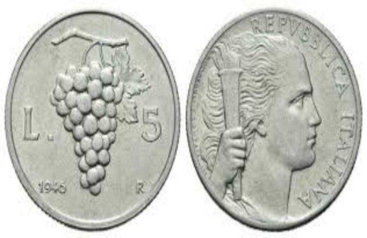 5 Lire Uva 1946 monete fortuna
